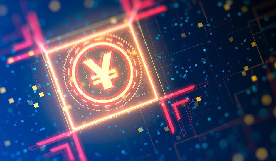 Signe de la monnaie Yuan sur un fond numérique abstrait. Thème financier de haute technologie. Graphique 3d avec bokeh et néons