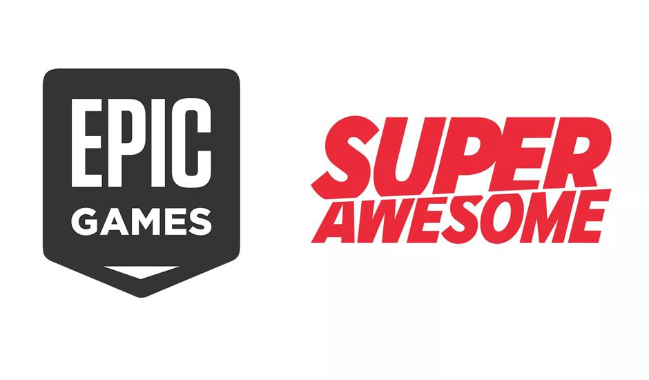 Les logos Epic Games et SuperAwesome sur un fond blanc.
