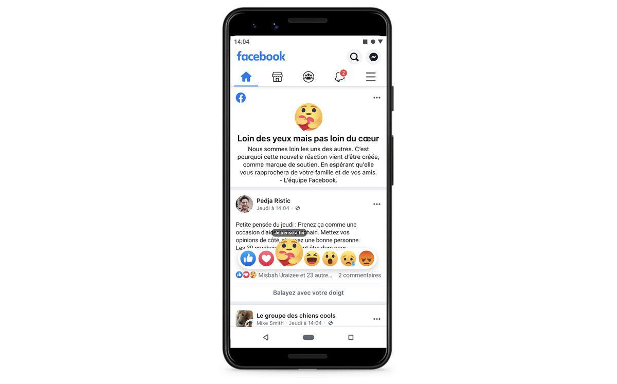 """Facebook : capture d'écran de la réaction """"Je pense à toi"""""""