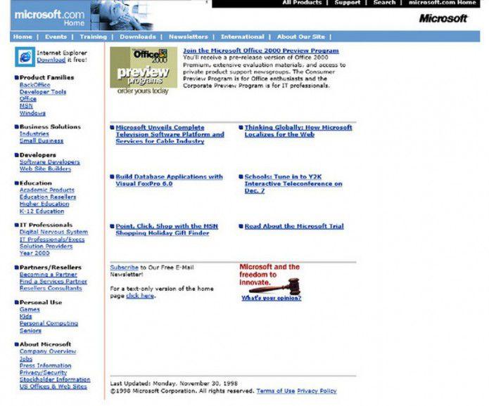 Homepage Microsoft.com 1998