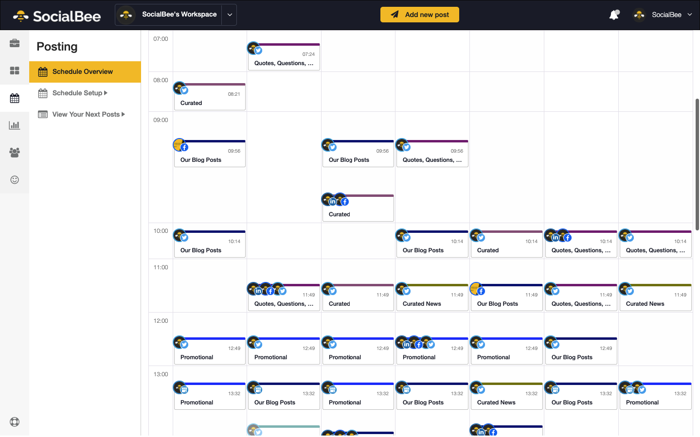 calendrier programmation SocialBee
