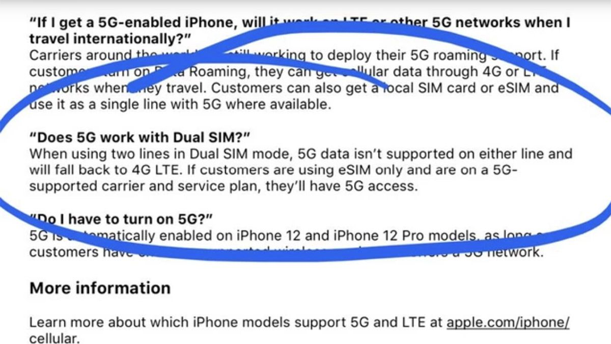 Un document officiel d'Apple sur l'iPhone 12 et la 5G.