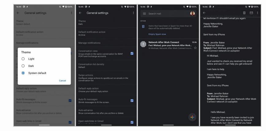 Les thèmes du dark mode sur Gmail