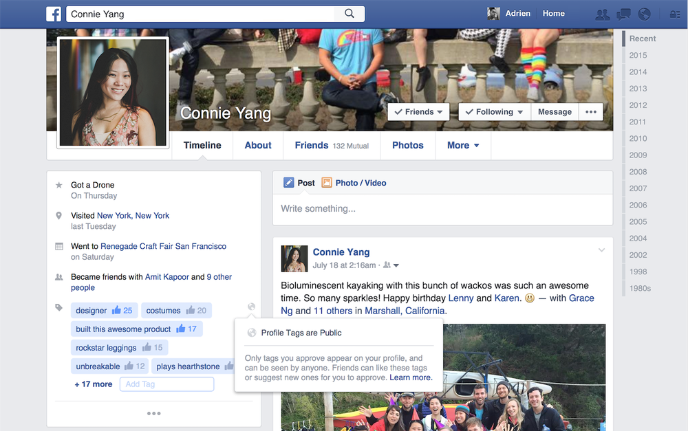 Facebook profil tags linkedin