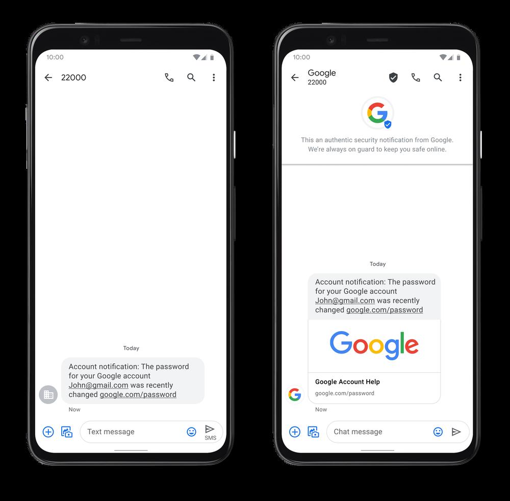 Google SMS vérifiés