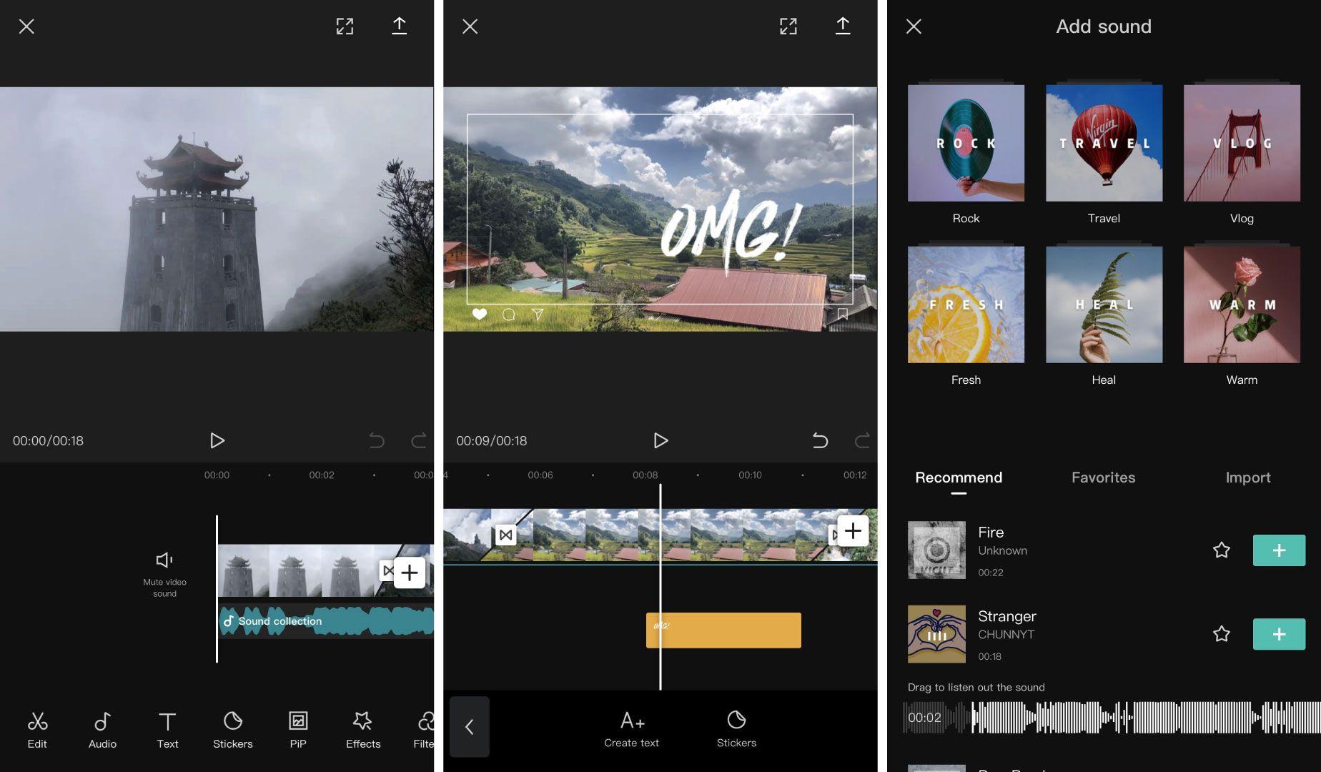 Captures d'écran des options de montage sur Viamaker