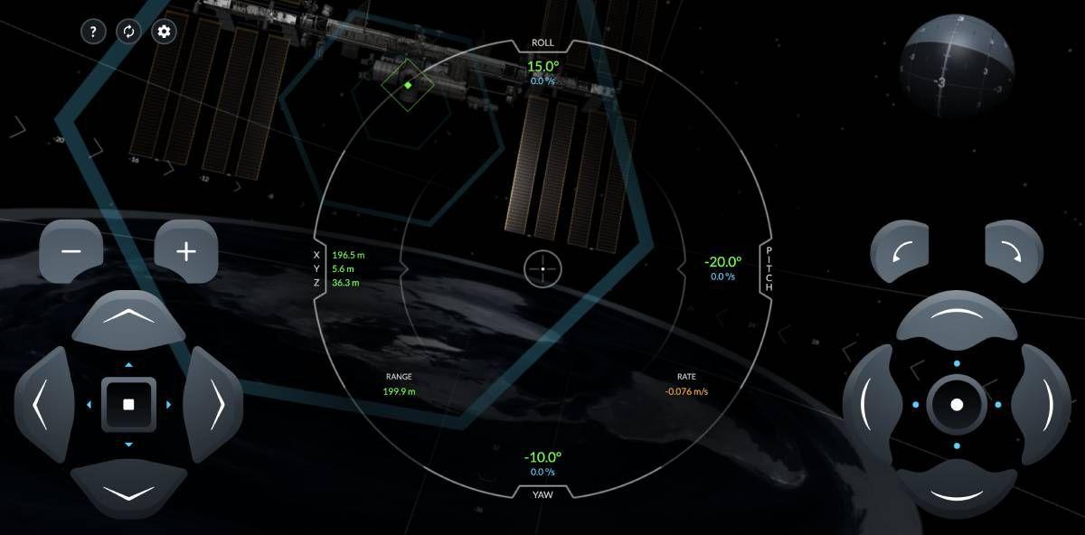 Capture d'écran du simulateur de SpaceX dans lequel la Terre est plate.