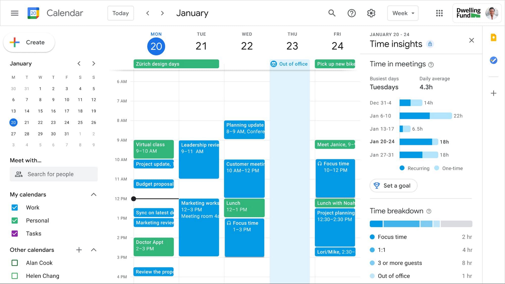 La nouvelle interface de Google Agenda dans Google Workspace
