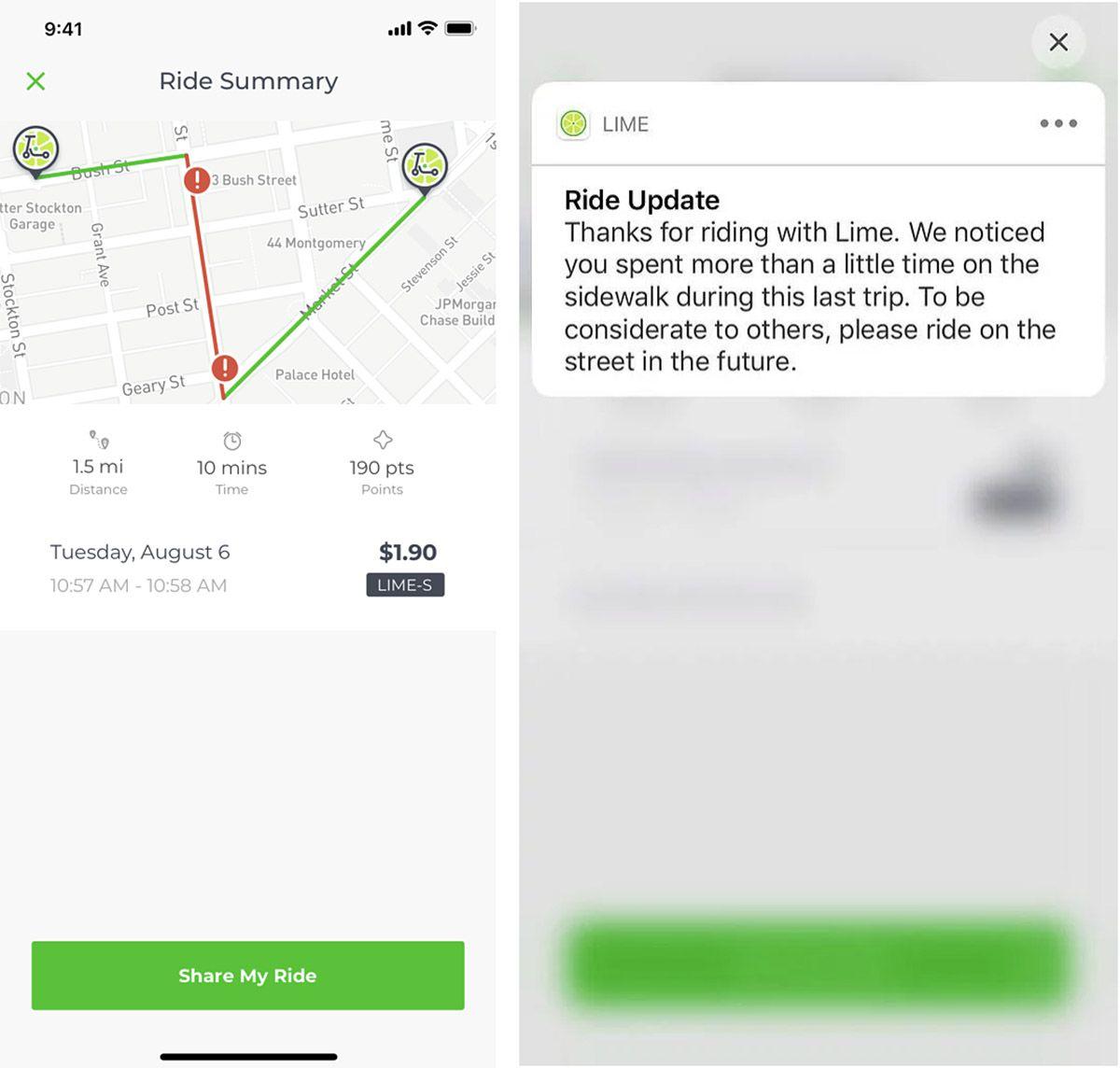 La fonctionnalité Lime qui permet de détecter les usagers qui roulent sur les trottoirs