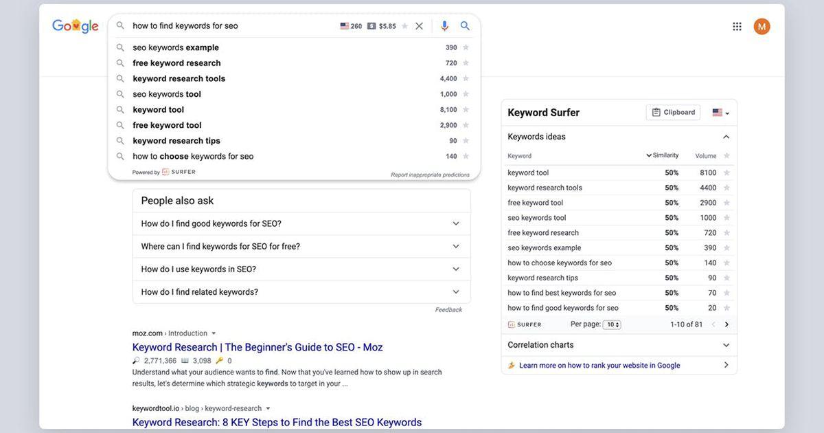 Cette extension gratuite permet d'obtenir rapidement les volumes de recherche dans Google