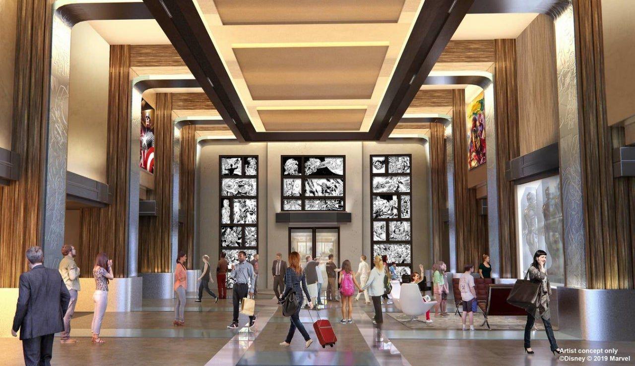 disneyland paris : hôtel new york the art of marvel vue sur le lobby