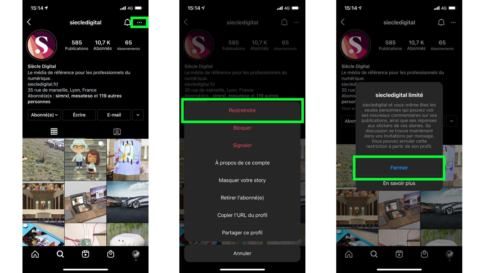 captures d'écran de l'application iOS d'Instagram présentant les étapes pour restreindre ou bloquer un utilisateur