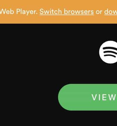 Message Spotify sur Safari