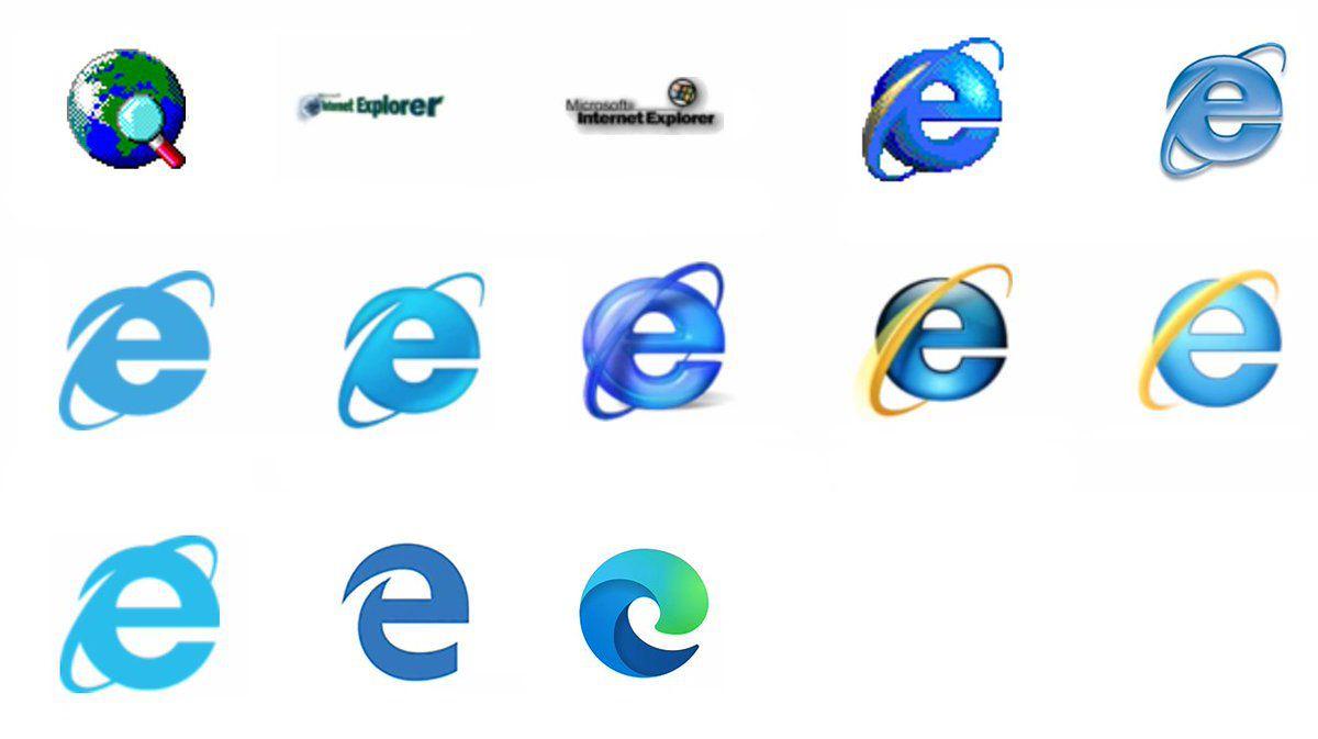 Évolution des logos d'Internet Explorer jusqu'à Microsoft Edge