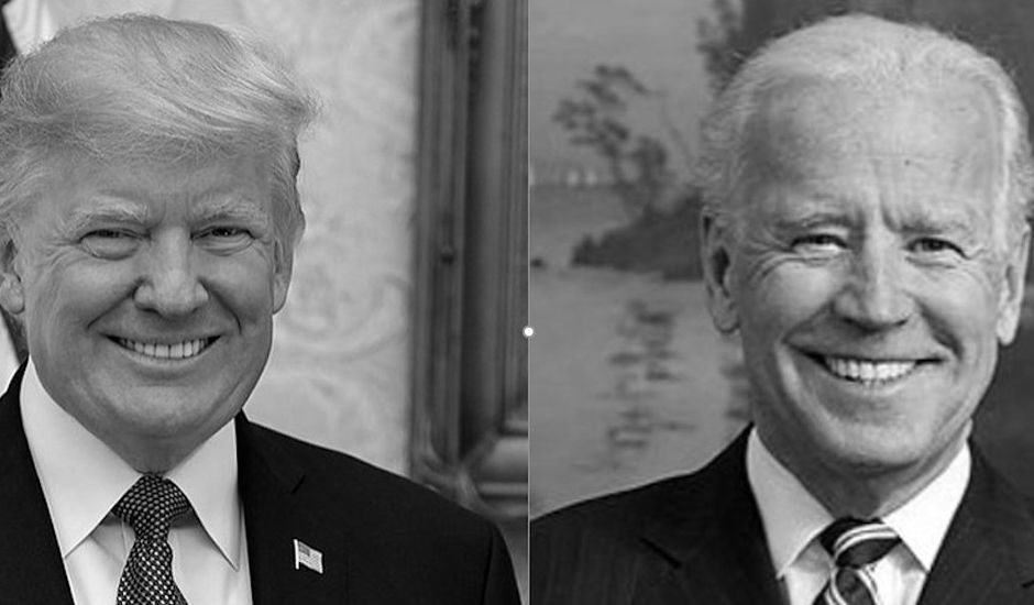 Trump et Biden portraits photo noir et blanc