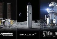Les trois alunisseurs choisis par la NASA. De gauche à droite : celui de Dynetics, celui de SpaceX et celui de Blue Origin.