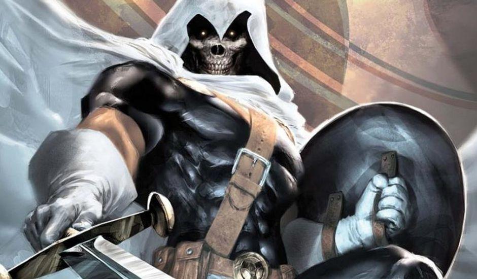 Concept art du méchant Taskmaster dans le film Black Widow