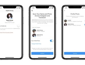 Trois smartphones sur lesquels s'affiche le nouvel outil de Facebook, Accounts Managers.