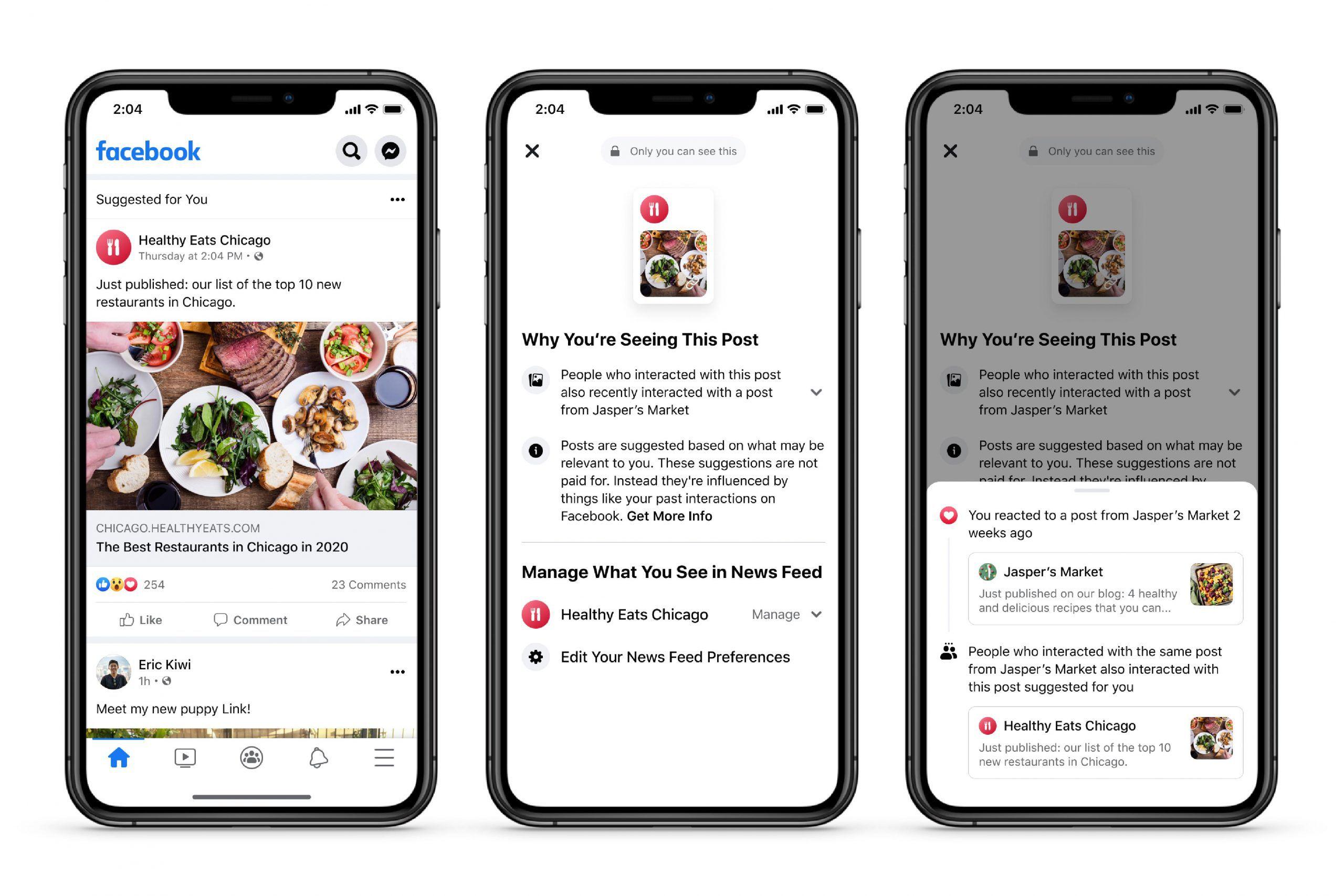 captures d'écran présentant des options sur les publications recommandées par Facebook