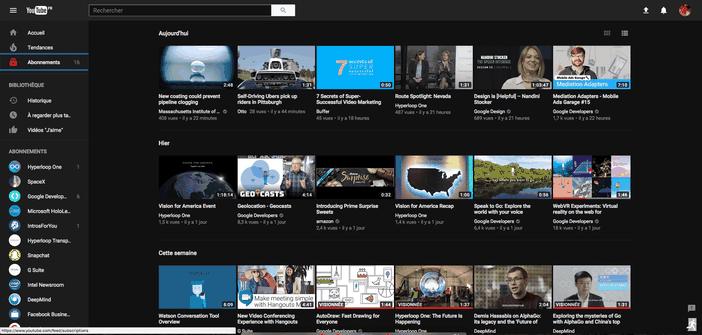 YouTube mode nuit