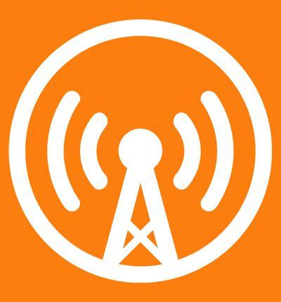 Le logo Overcast sur fond orange