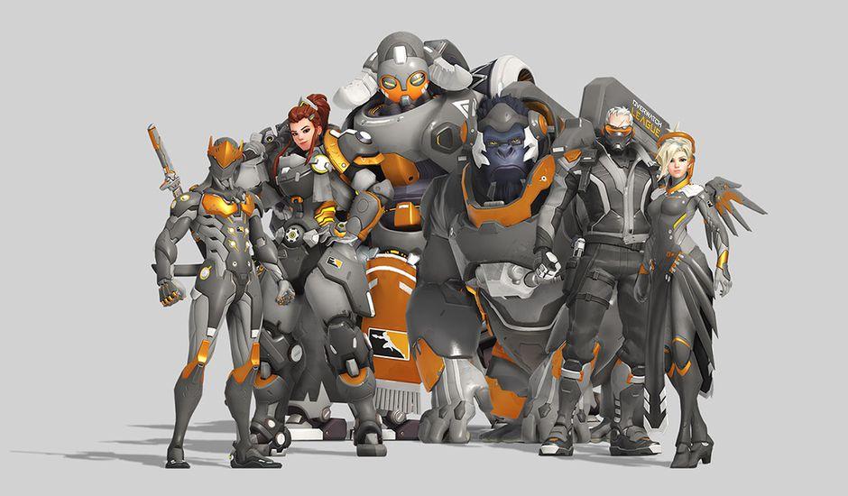Les héros Overwatch en tenue grise
