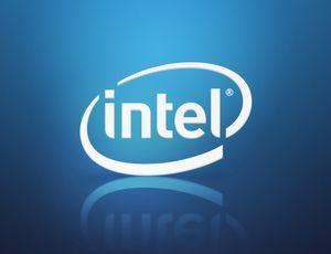 Le logo Intel sur un fond bleu.