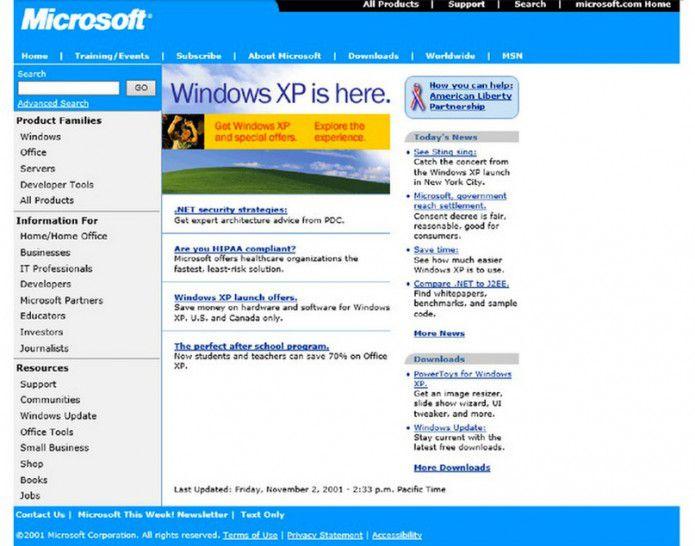 Homepage Microsoft.com 2001