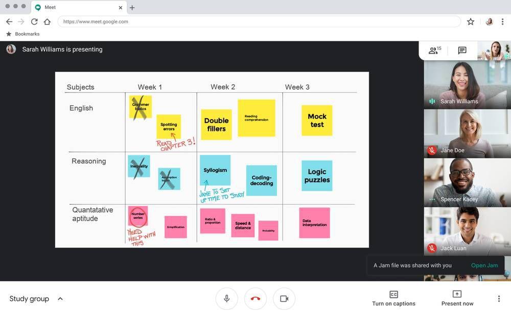 Une capture d'écran de l'outil Jamboard sur Meet où des élèves peuvent participer.