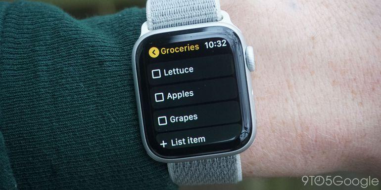 Aperçu de l'expérience Google Keep sur Apple Watch.