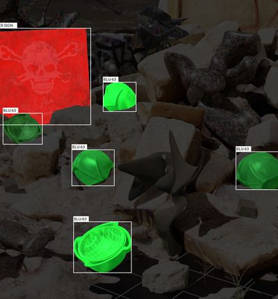 Image captée par une IA pour identifier la BLU-63.