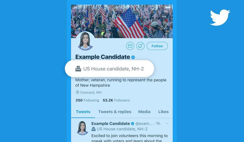 Exemple d'étiquette permettant d'identifier une personnalité politique sur Twitter