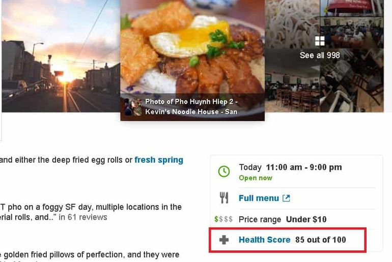 USA Yelp score hygiène