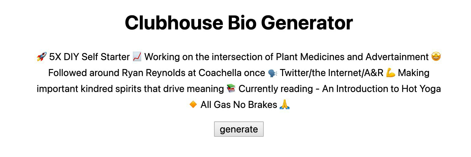 Clubhouse Bio Generator