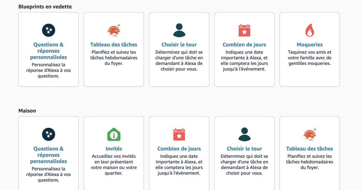 Alexa Skills Blueprints est disponible pour les clients français