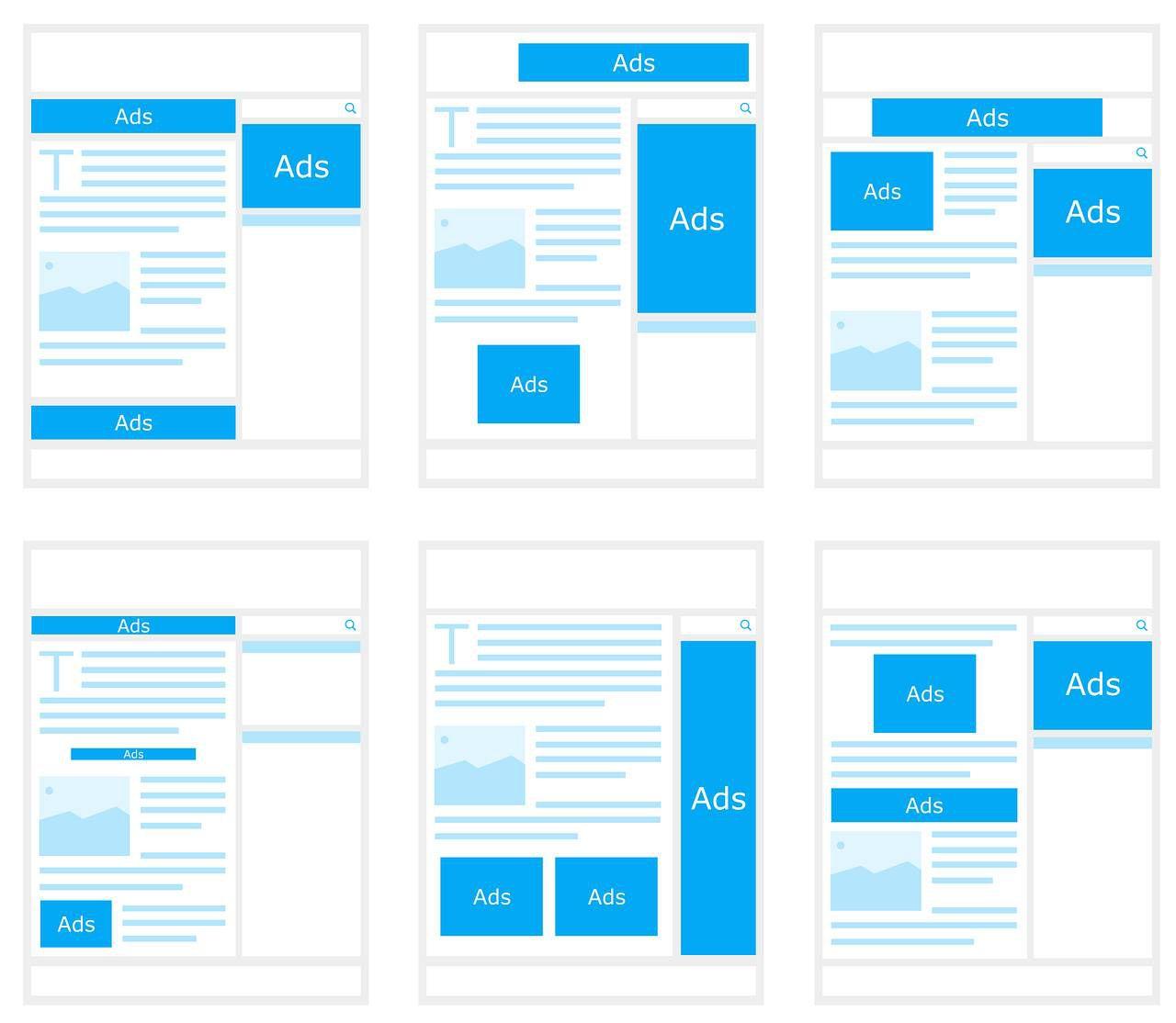 Schémas de pages internet où l'on voit les encarts publicitaires.