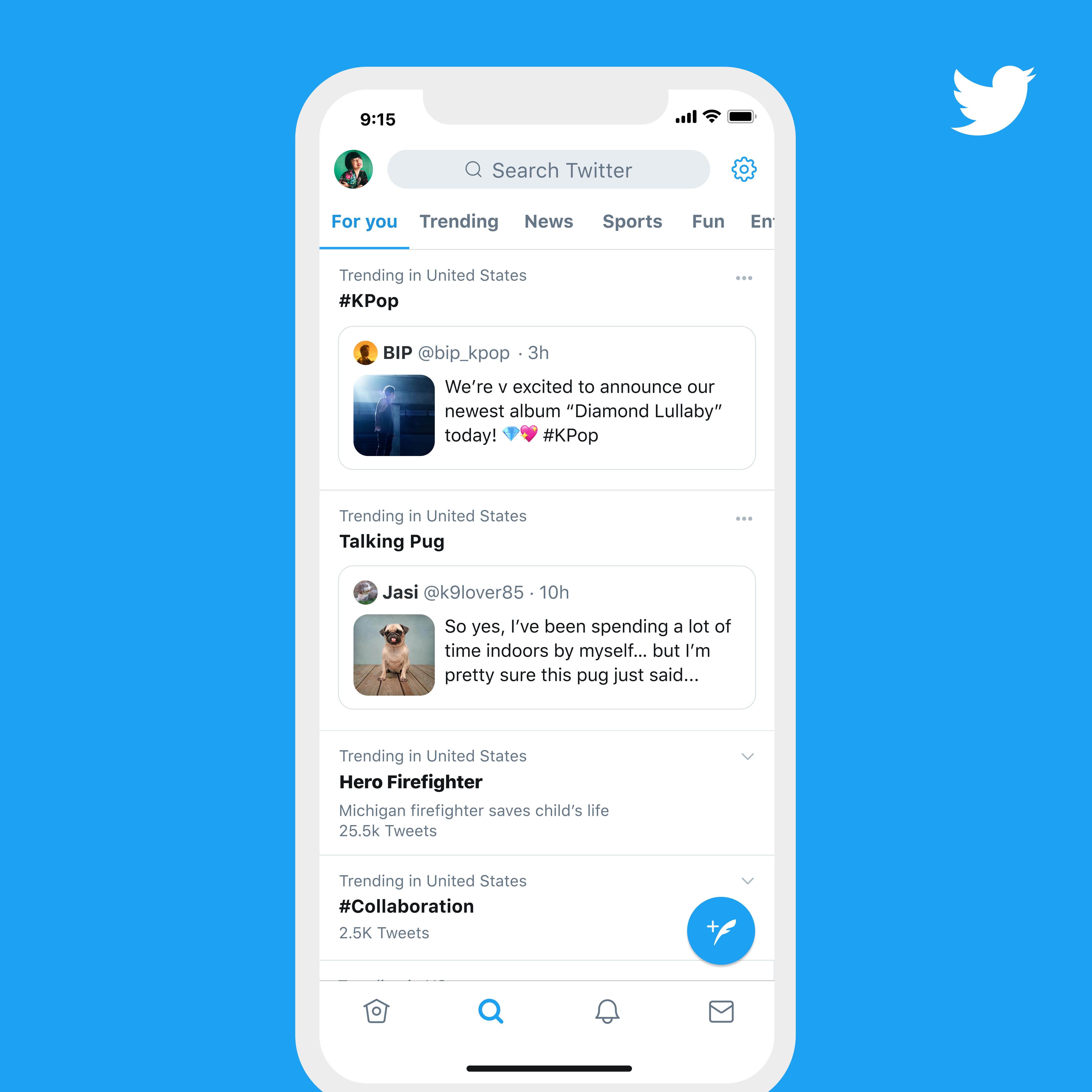 Présentation de l'onglet Tendances avec des tweets déjà mis en avant