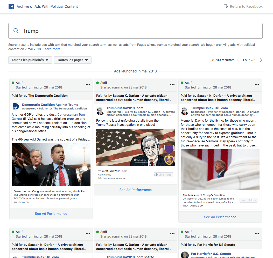 facebook label politique