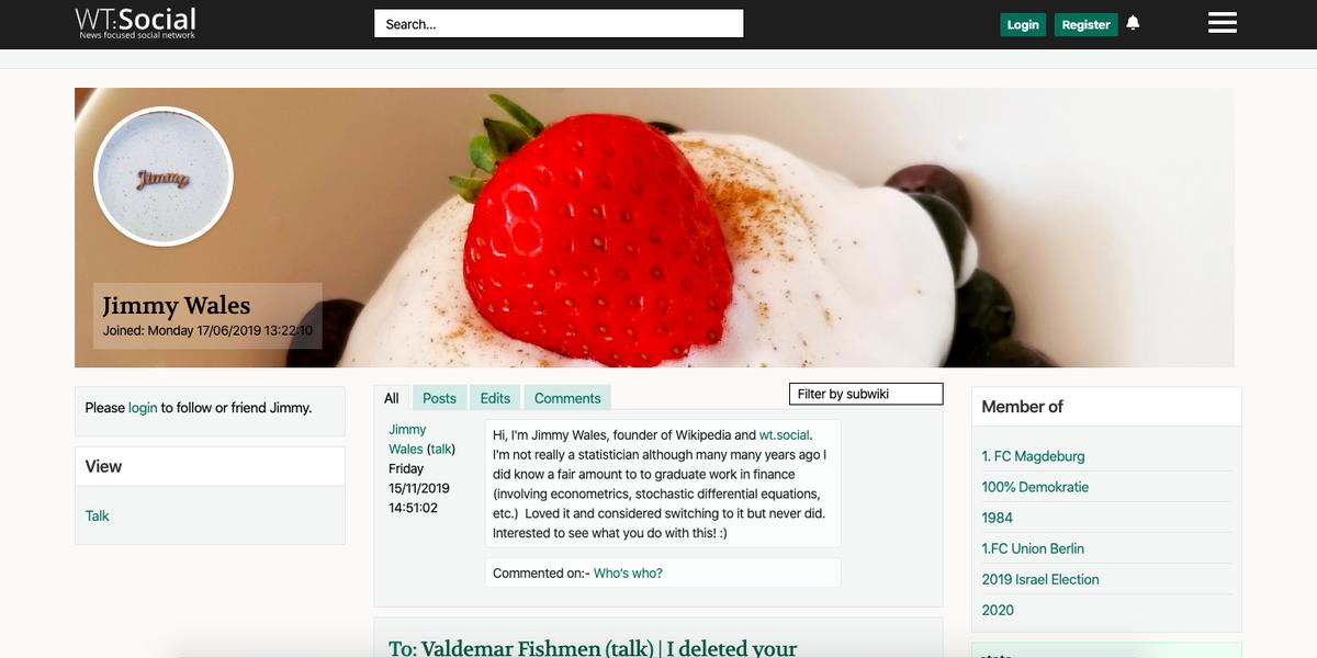 WT:Social : le co-fondateur de Wikipédia crée sa version de Facebook, sans publicité