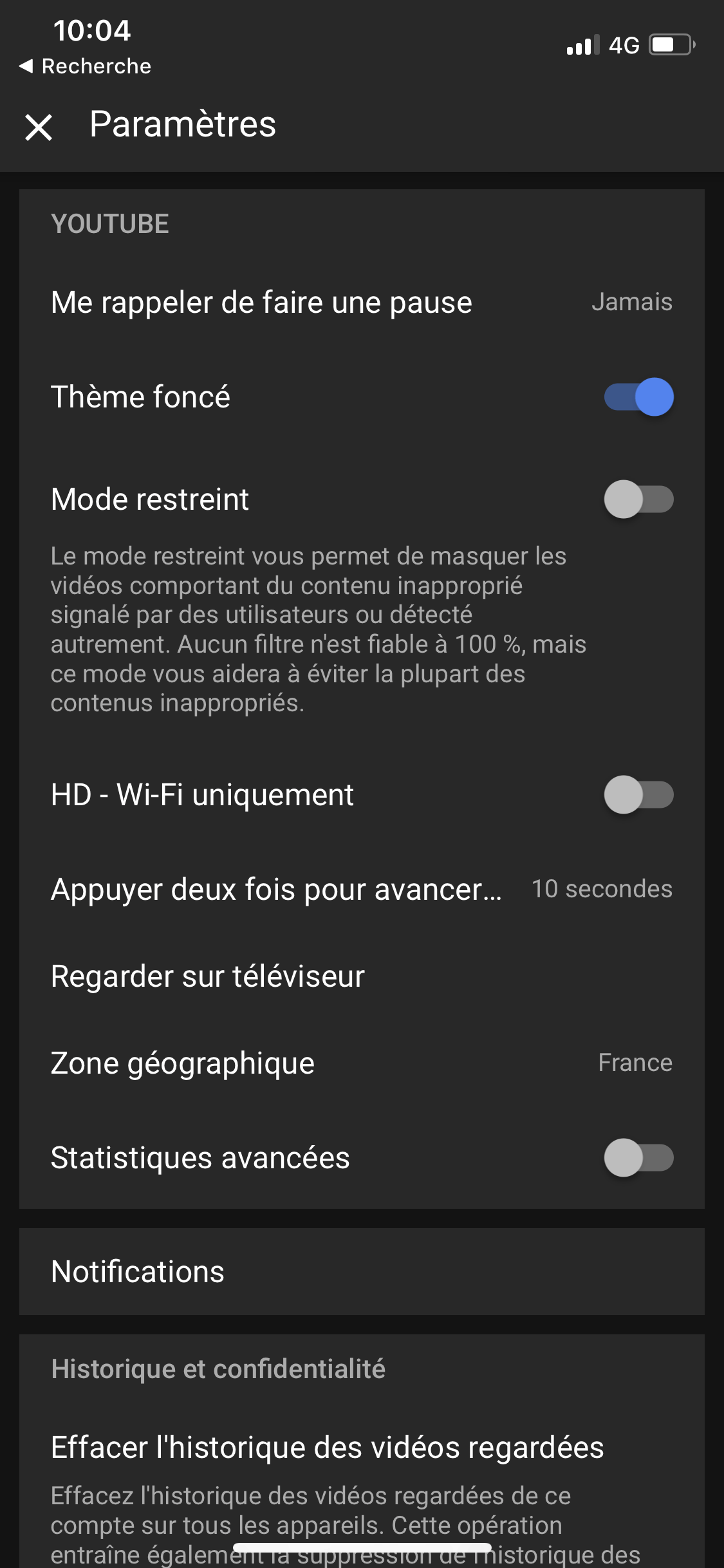 youtube notification pause automatique