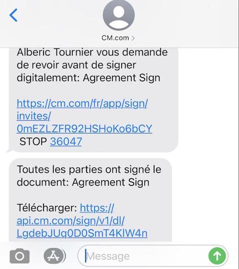 sms de SIGN l'outil de signature électronique de SIGN