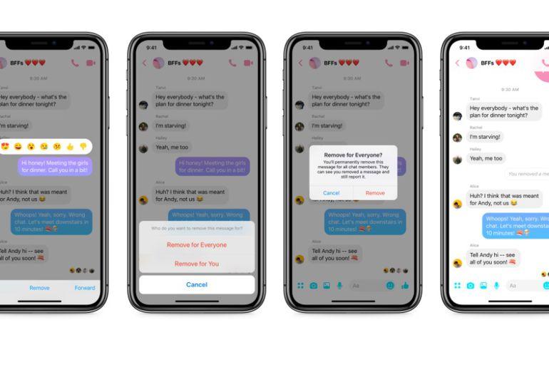Messenger donne un délai de 10 minutes aux utilisateurs pour supprimer un message d'une conversation