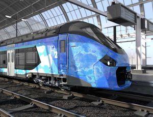 Aperçu du premier train à hydrogène français.