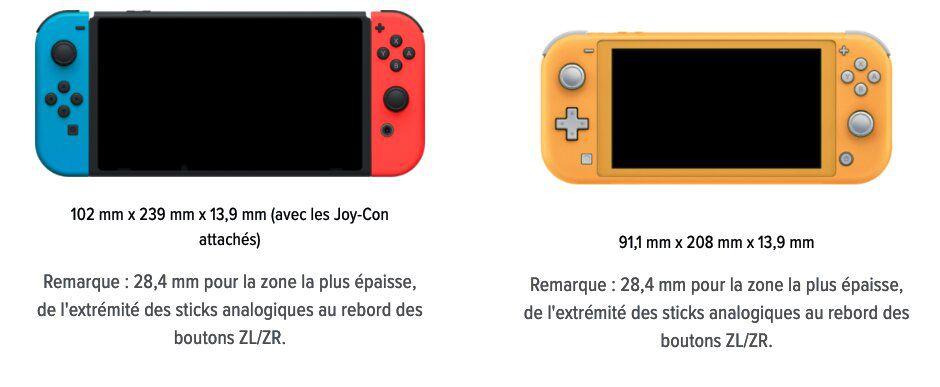 comparaison des dimensions de la nintendo switch classique et la version lite
