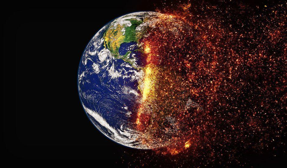 La Terre en train de prendre feu.