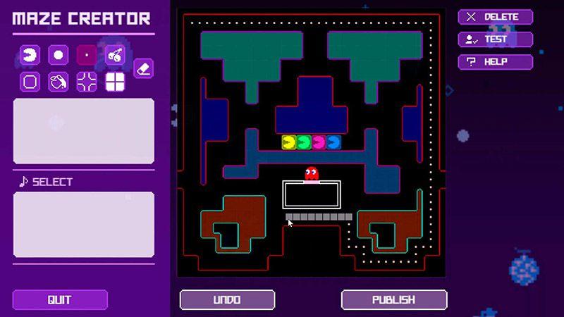 """Capture d'écran du mode """"Maze Creator"""" de Pac-Man Live Studio."""