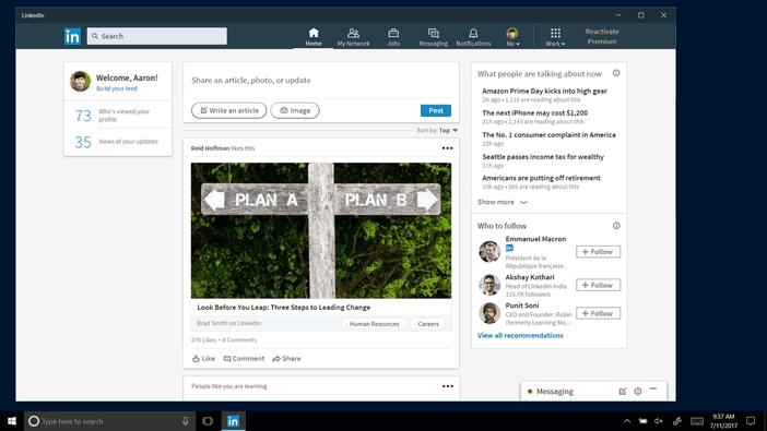 LinkedIn application Windows 10