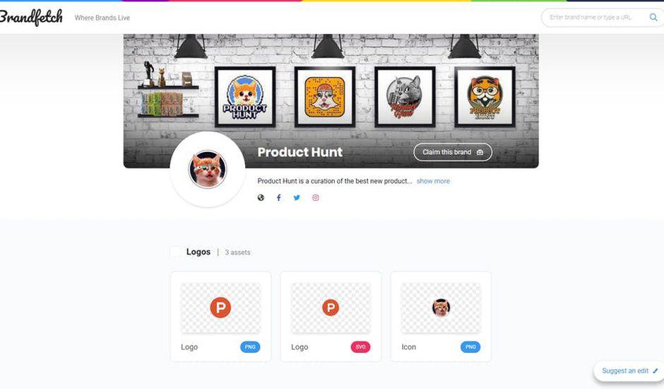 exemple d'utilisation de Brandfetch avec Product Hunt