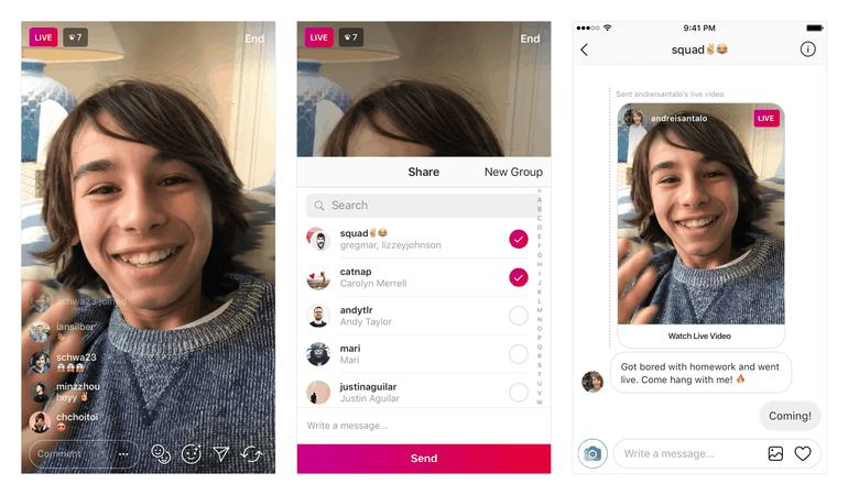 Instagram partage Live Direct
