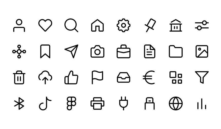 exemples d'icônes via Basicons